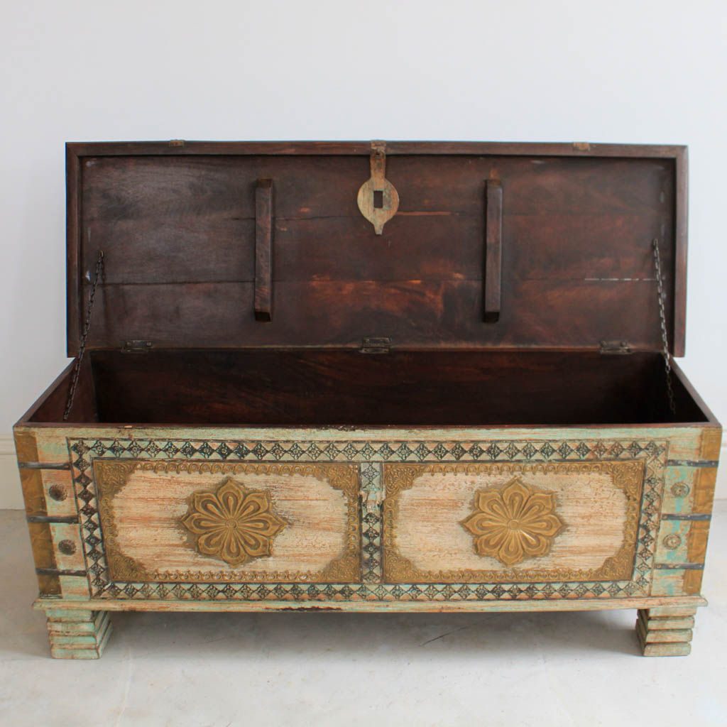 Washed Green Wooden Blanket Box Kasakosa Home Decor