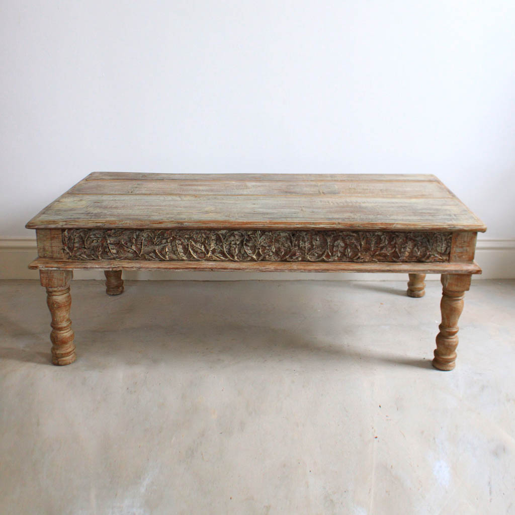 Light Wooden Coffee Table Carved Inlays Kasakosa Home Decor