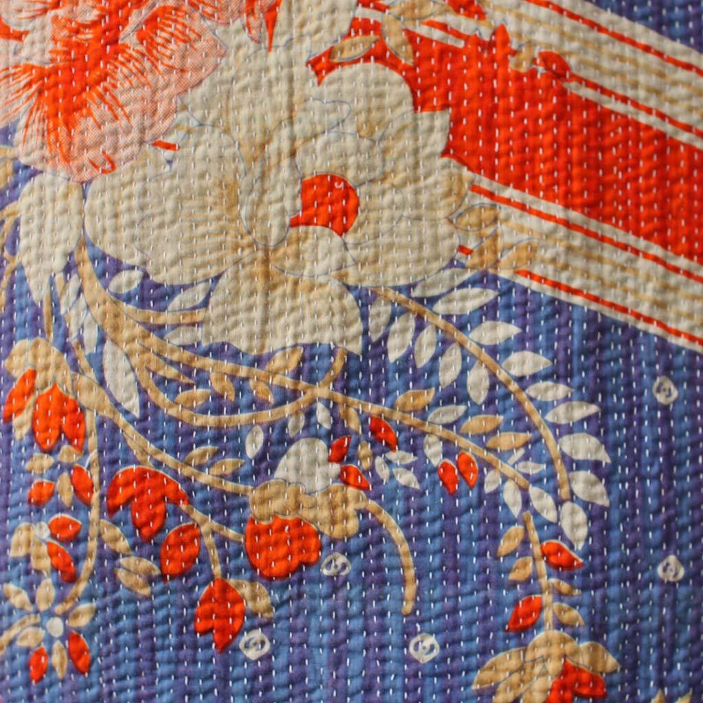 Kantha Quilt Blue Orange Floral Kasakosa Home Decor
