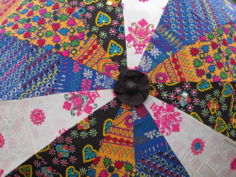 Embroidered Indian Parasol Chunni Kasakosa Home Decor