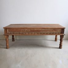 Dark Wooden Coffee Table – carved inlays