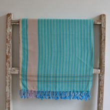 Aqua Striped, East African Kikoy - 100% cotton