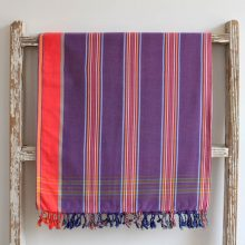 Magenta Striped, East African Kikoy - 100% cotton