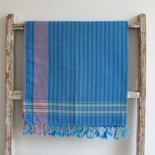 Blue Striped East African Kikoy - 100% cotton