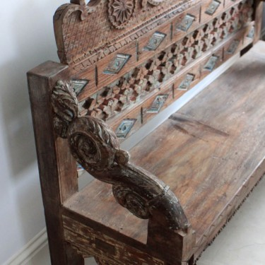ornate wooden bench fade