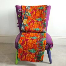 Kantha Quilt - Green and Orange floral