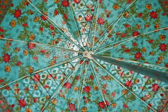 indian summer embroidered parasol - inner block print