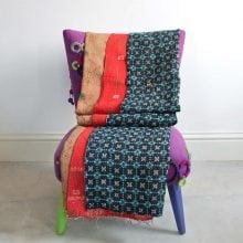 Kantha Quilt - Navy, Turquoise