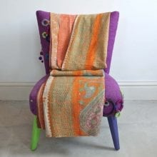 Kantha Quilt - Orange and Brown