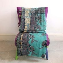 Kantha Quilt - Turquoise Floral