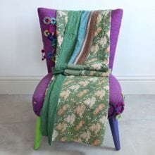 Kantha Quilt - Green and Neutral Floral