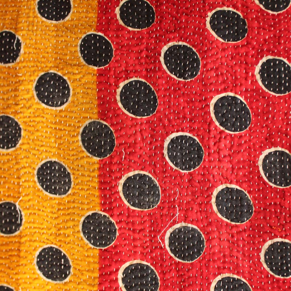 Kantha Quilt Red And Yellow Kasakosa Home Decor