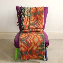 Kantha Quilt - Coral Orange and Green