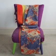 Kantha Quilt - Blue Orange Floral