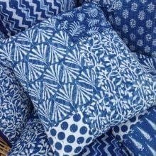 Hand block printed Indigo Kantha Cushion