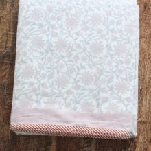 Hand blocked Muslin Dohar – Red floral Queen Blanket