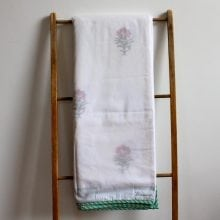 Hand blocked Muslin Dohar - Red flower Queen Blanket