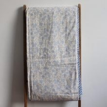 Hand blocked Muslin Dohar - Blue & Gold floral King Throws