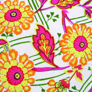 indian-block print - floral orange