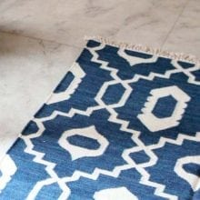 Handwoven Wool Rug - Large Blue Mughal