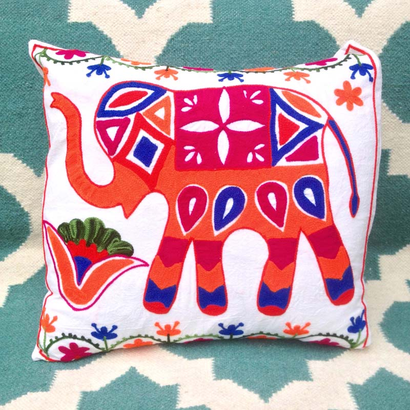 Hand Embroidered Suzani Elephant Cushion
