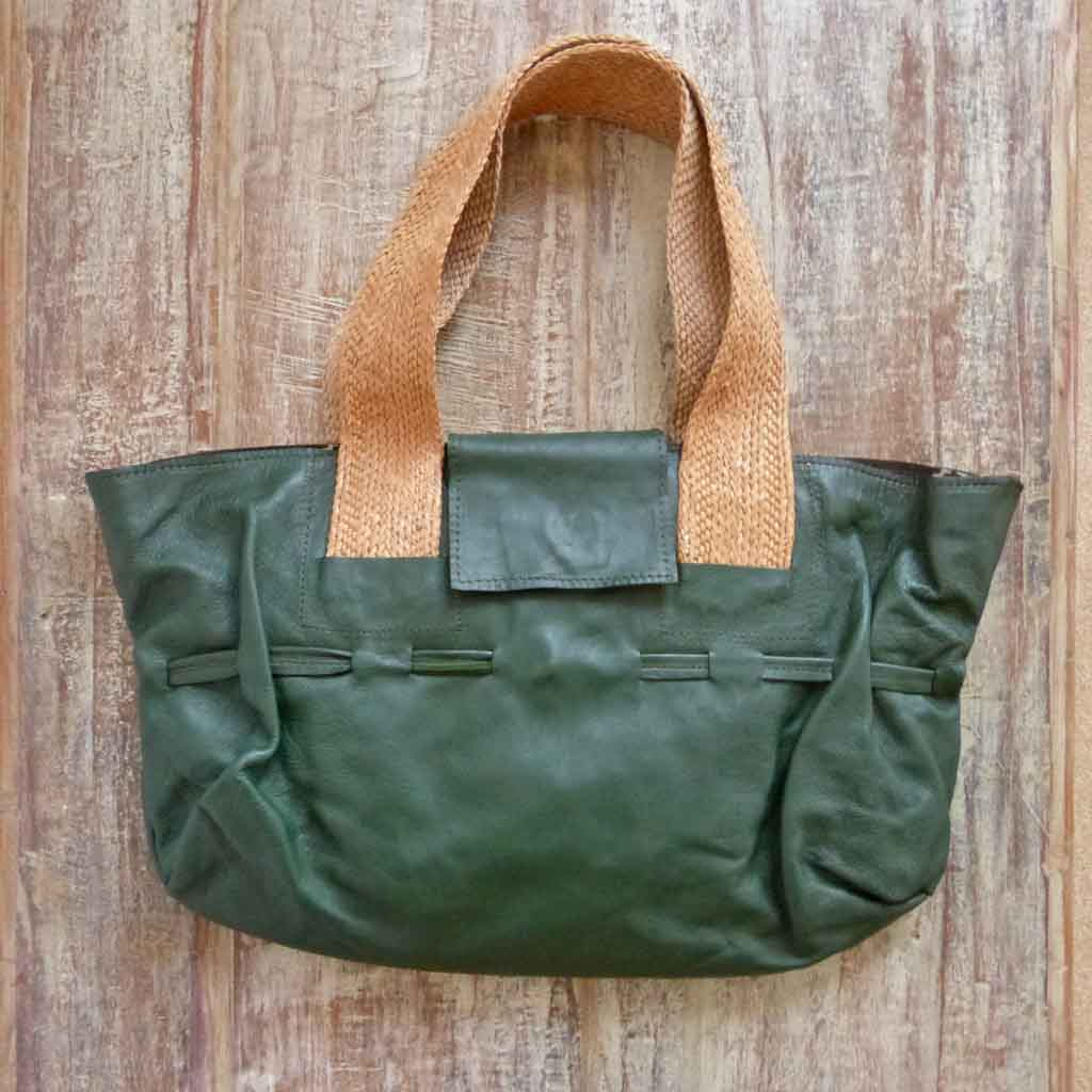 Green Leather Tote designer handbag