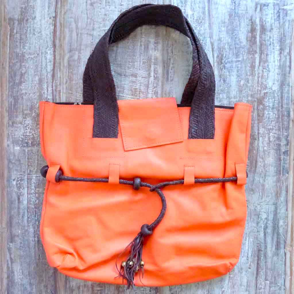 Orange Leather Tote designer handbag
