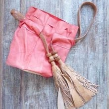 Coral Leather designer handbag