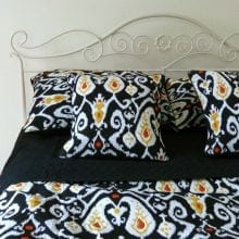 Ikat printed bedspread sets - Black