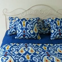 Ikat printed bedspread sets - Navy