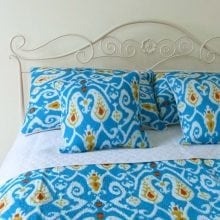 Ikat printed bedspread sets - Turquoise