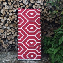 Handwoven Cotton Dhurrie Rug - Red Geometric