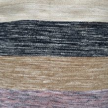 Handwoven Wool Rug – Muted Beige, Black