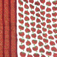 Red Floral Quilted Cotton Eiderdown – Double Bedspread