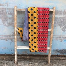 Kantha Quilt - Red Yellow Polka