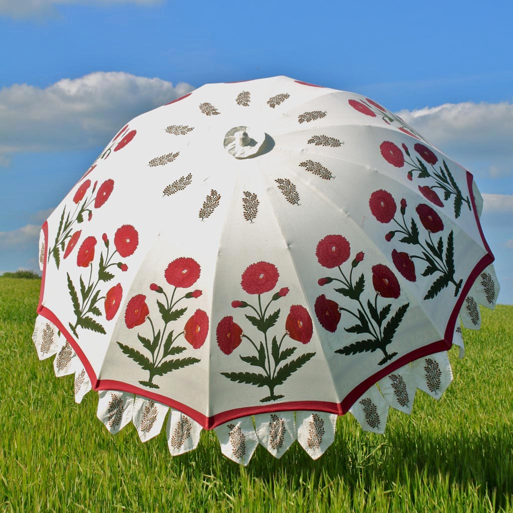 Indian Summer Garden Parasol – Red Poppy